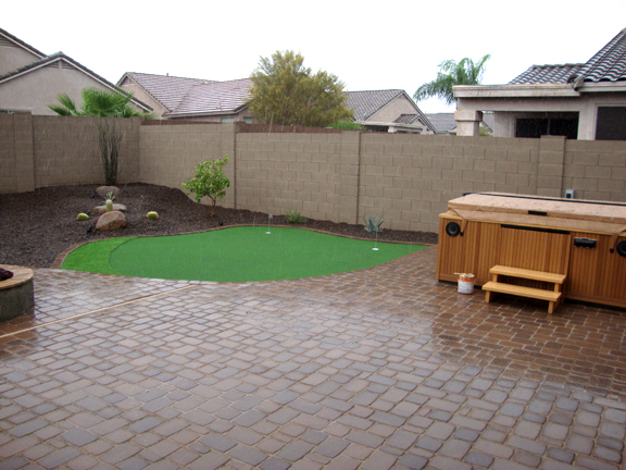 Az backyard landscape putting green