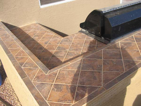 Built in BBQ Tile counter top