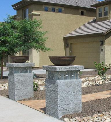 Block pedastals with planters