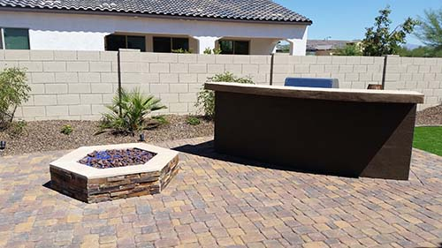 built-in BBQ Pavers Fire Pit