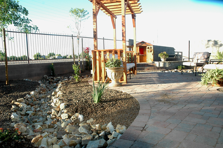 paver patio sidewalk with pergola