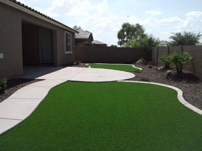 synthetic grass concrete patio and sidewalk