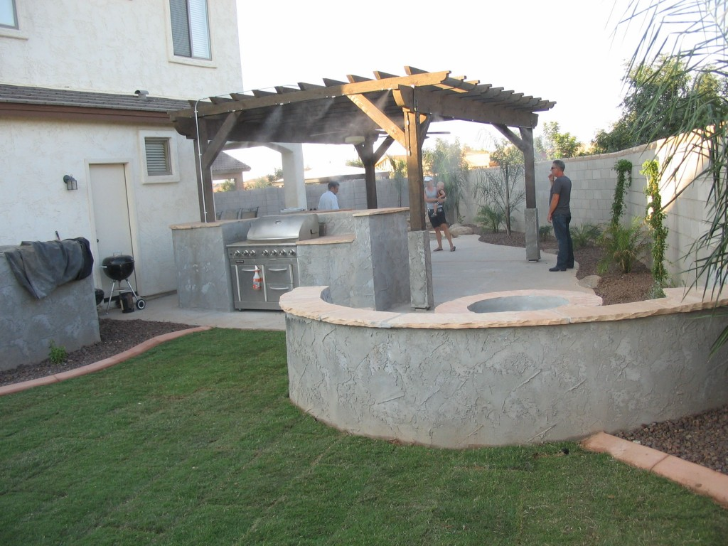Fire Pits designed by Az Living Landscape. Call 480-390-4477 Ranch Home Backyard Ideas Pergola With Fire Pit on