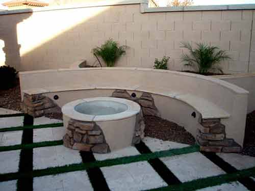 Firepit wood with cultured stone