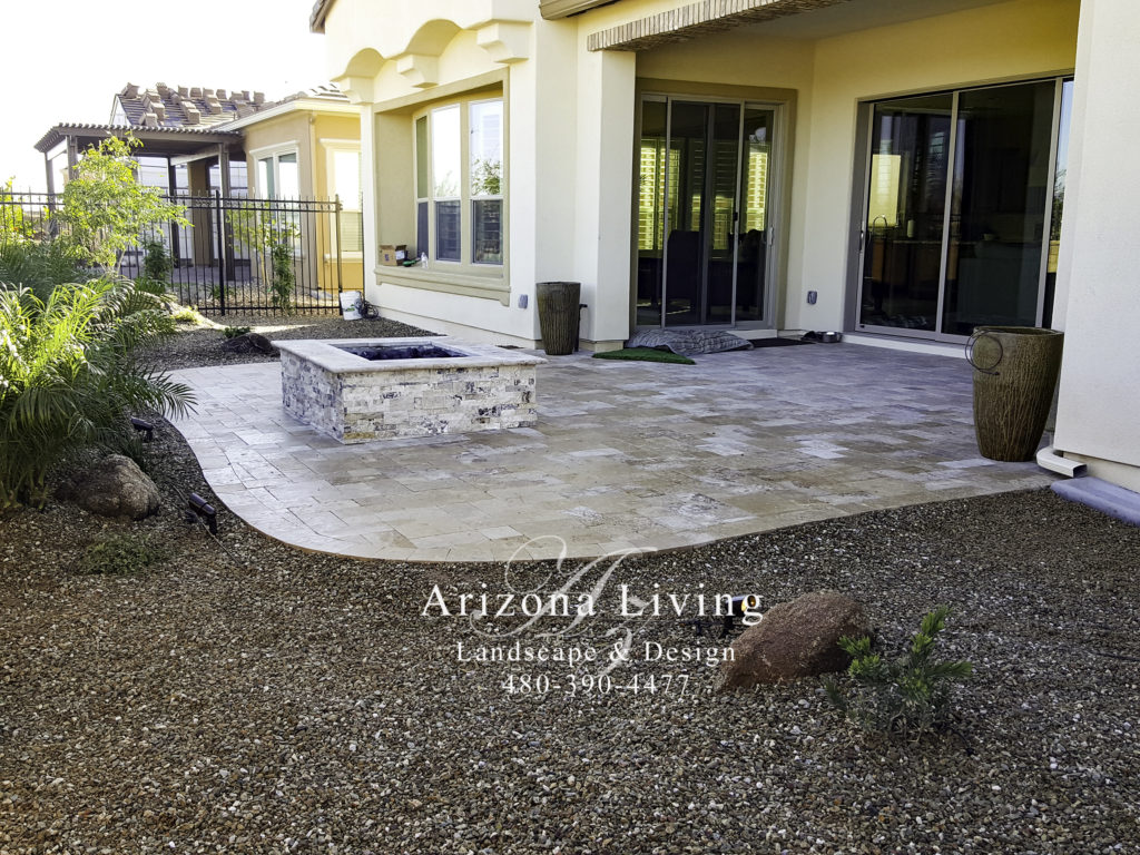 Travertine-patio-fire-pit