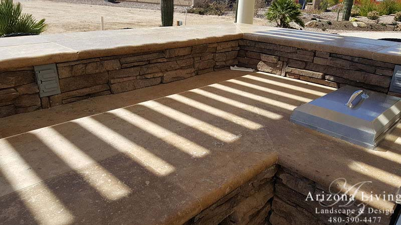 Built-in BBQ-Travertine-top-Arizona-Living-Landscape