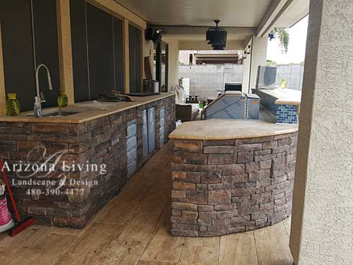 custom outdoor grill built-in with serving table