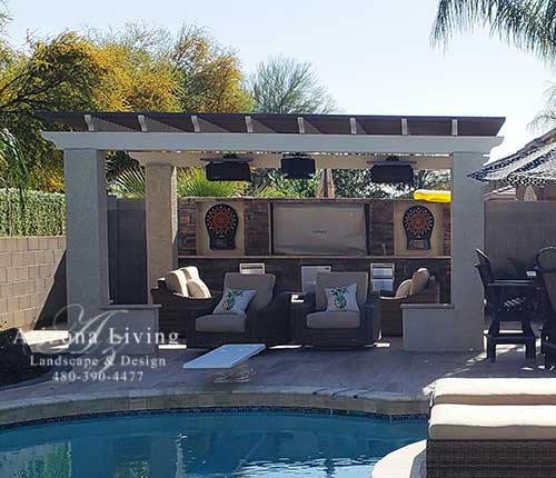 Lattice top pergola with stucco columns
